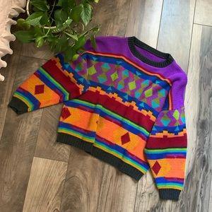 Vintage fun pattern sweater medium